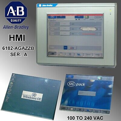 Allen Bradley 12 Panelview 6182-agazzb Ser. A With Brackets And Flash Card
