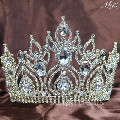 US 15cm High Large Full Crystal Rhinestone Women Tiara Crown Party Prom Wedding