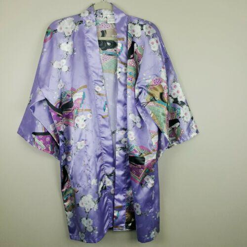 Juguemm Japanese Womens Kimono Purple Floral 35 Inches