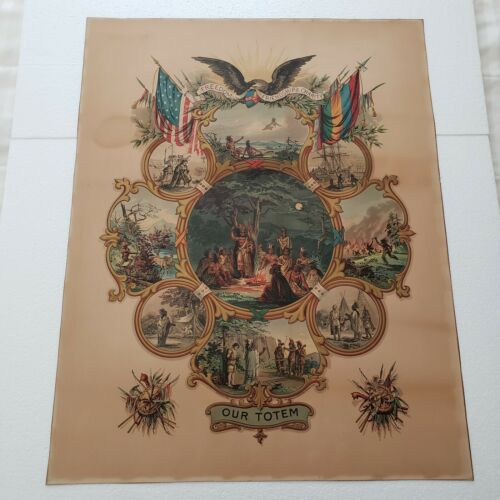 OUR TOTEM / Original 1888 Improved Order of Red Men LITHOGRAPH Print in COLOR