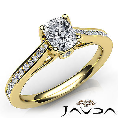 Channel Set Cushion Cut Diamond Engagement Ring GIA H VS1 18k Yellow Gold 0.70Ct