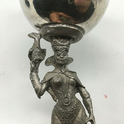 Vintage Rare GALLO Pewter Princess Holding Bird Magic Goblet /Cup  1985 #103
