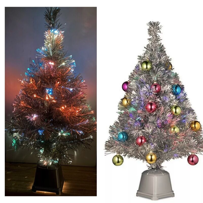 FIBER OPTIC SILVER TINSEL CHRISTMAS TREE LED LIT TREE MULTI COLOR 3 FOOT TREE