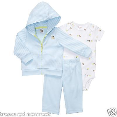 Carter's 3 Piece Pants, Body Suit & Hooded Cardigan Set ~Puppy Dog Print ~ 6 Mon