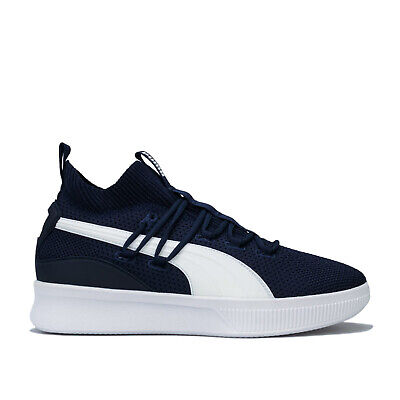 PUMA CLYDE COURT MENS PEACOAT AND WHITE BASKETBALL TRAINERS