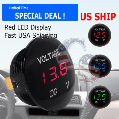 Red LED Digital Waterproof Voltmeter A Gauge Meter 12V-24V Car Auto Motorcycle