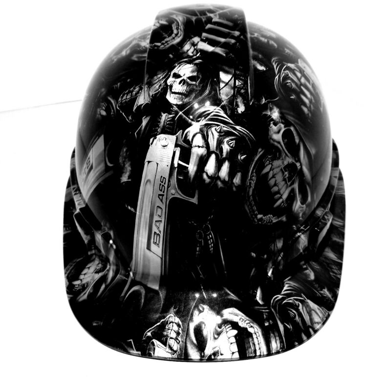 Hard Hat custom hydro dipped ,GRIM REAPER SHOOTER STEEL GREY  OSHA APPROVED