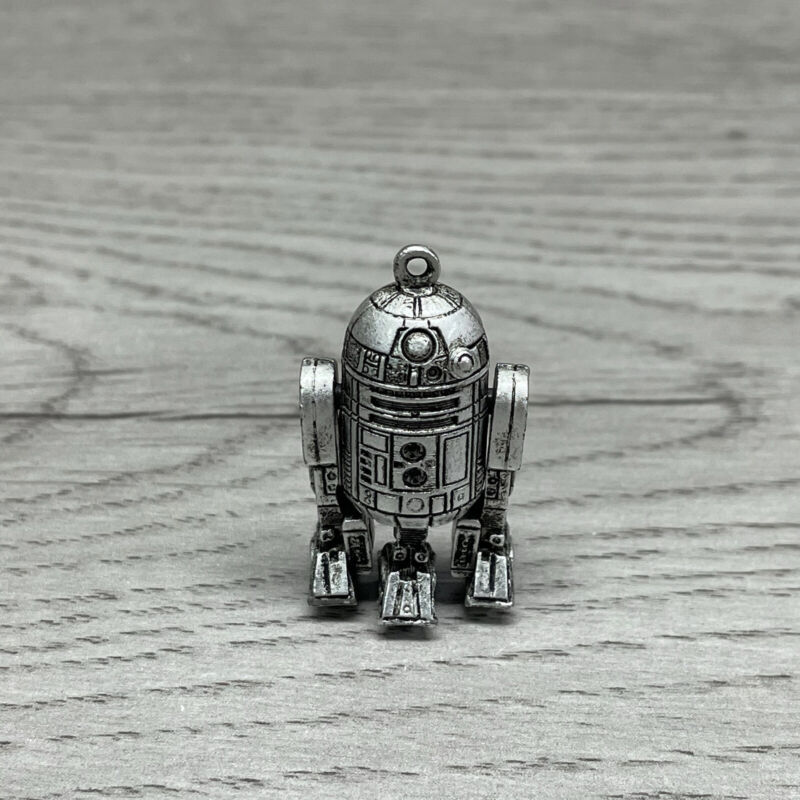 Vintage 1977 Star Wars R2-D2 Pendant Necklace with Articulating Arms Pewter