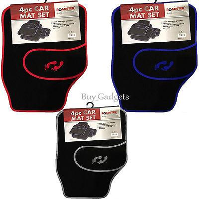 Car Parts - 4 PIECE FRONT REAR BLACK CAR MAT CARPET NON-SLIP GRIP UNIVERSAL FLOOR MATS