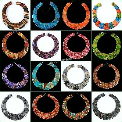 Large ladder shaped gemstone pendant graduated beads set For necklace design 13""