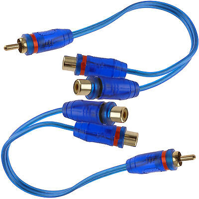 "2x 7"" RCA Audio Jack Cable Y Splitter Adapter 1 Male to 2 Fe"