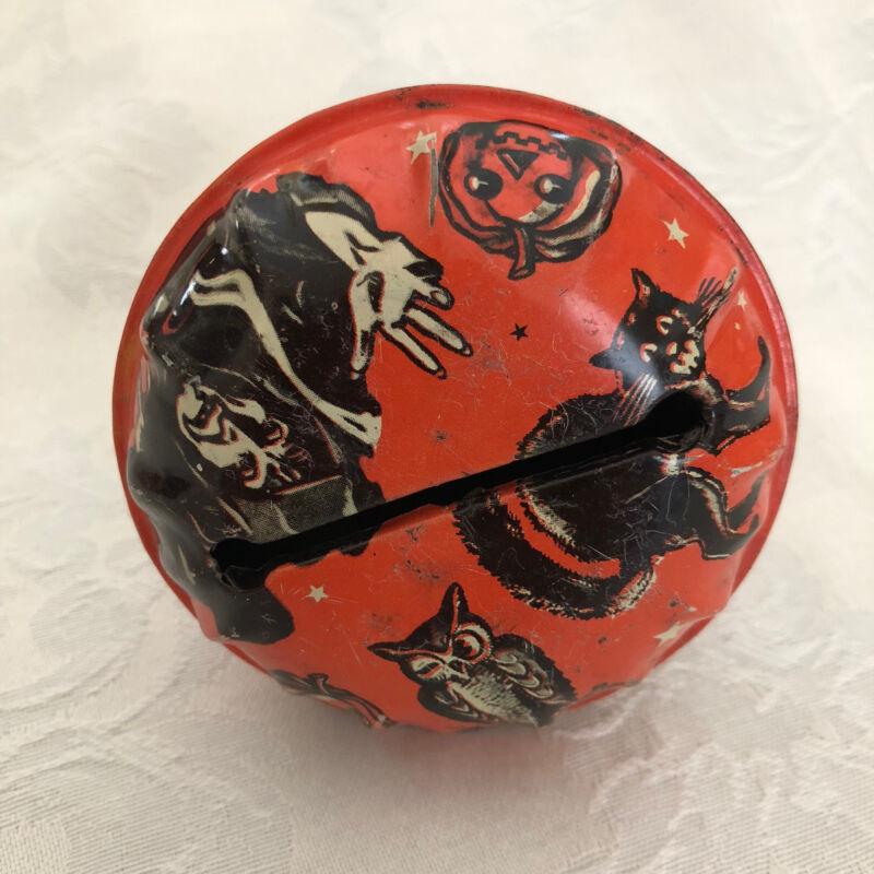 Vintage Halloween US METAL TOY TIn Litho Rattler Wood Handle Witch Noisemaker