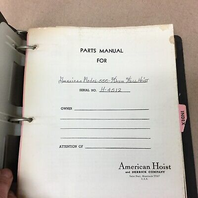 American 550 Crane Parts Manual Book Catalog Crawler Guide List 2 Drum W Fall
