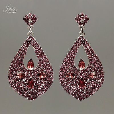 Purple Crystal Bead Earrings - Rhodium Plated Purple Crystal Rhinestone Chandelier Drop Dangle Earrings 09307