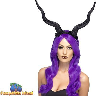 Demon Horns Black Halloween Headband Womens Ladies Fancy Dress - Demon Horns