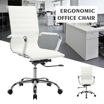 High Back Leather Office Chair Executive Task Ergonomic Computer Desk Seat White