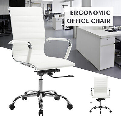 High Back Leather Office Chair Executive Task Ergonomic Computer Desk Seat White ()