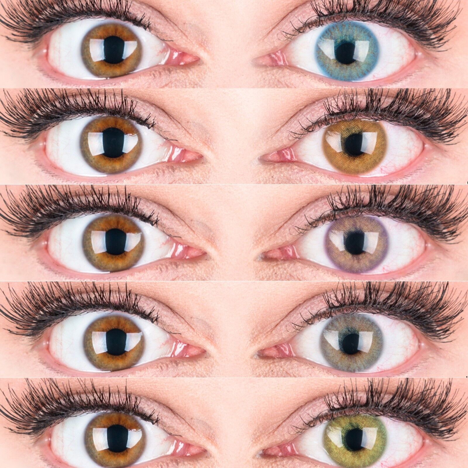 Farbige Silikon Kontaktlinsen Mit und Ohne Stärke weich Jasmin natürlich deckend