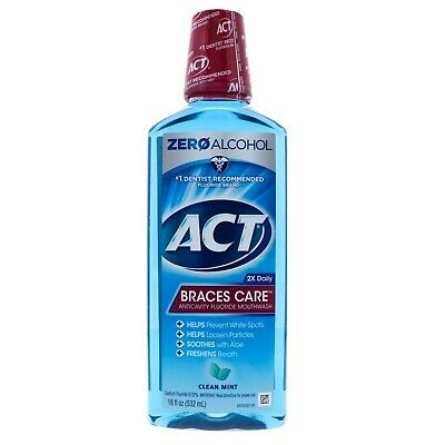 ACT Braces Care Anticavity Fluoride Mouthwash, Clean Mint 18 oz ()