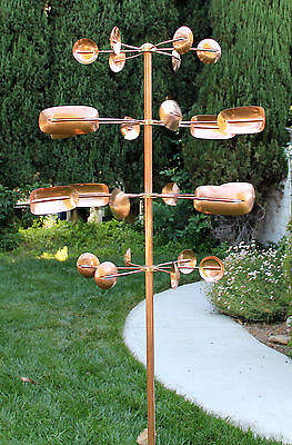 Stanwood Wind Sculpture - Kinetic Copper Quadruple Spinner - Quaking Aspen  Copper Wind Sculpture