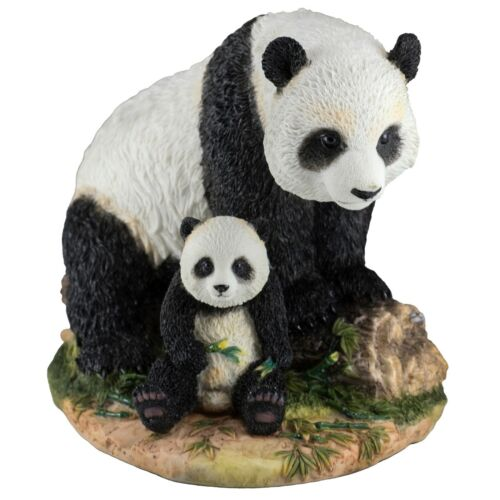 """Panda Mother and Baby Cub Figurine 8"""" Long Highly Detailed Polystone New In Box!"""