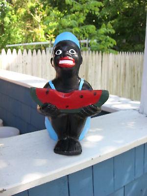 BLACK WATERMELON BOY STATUE.. BEST COLOR ..(LAWN JOCKEY COUSIN)  .HOME YARD ART