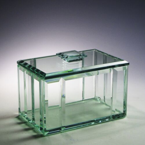 Beveled Polished Crystal Clear Glass Display Case Jewelry Box