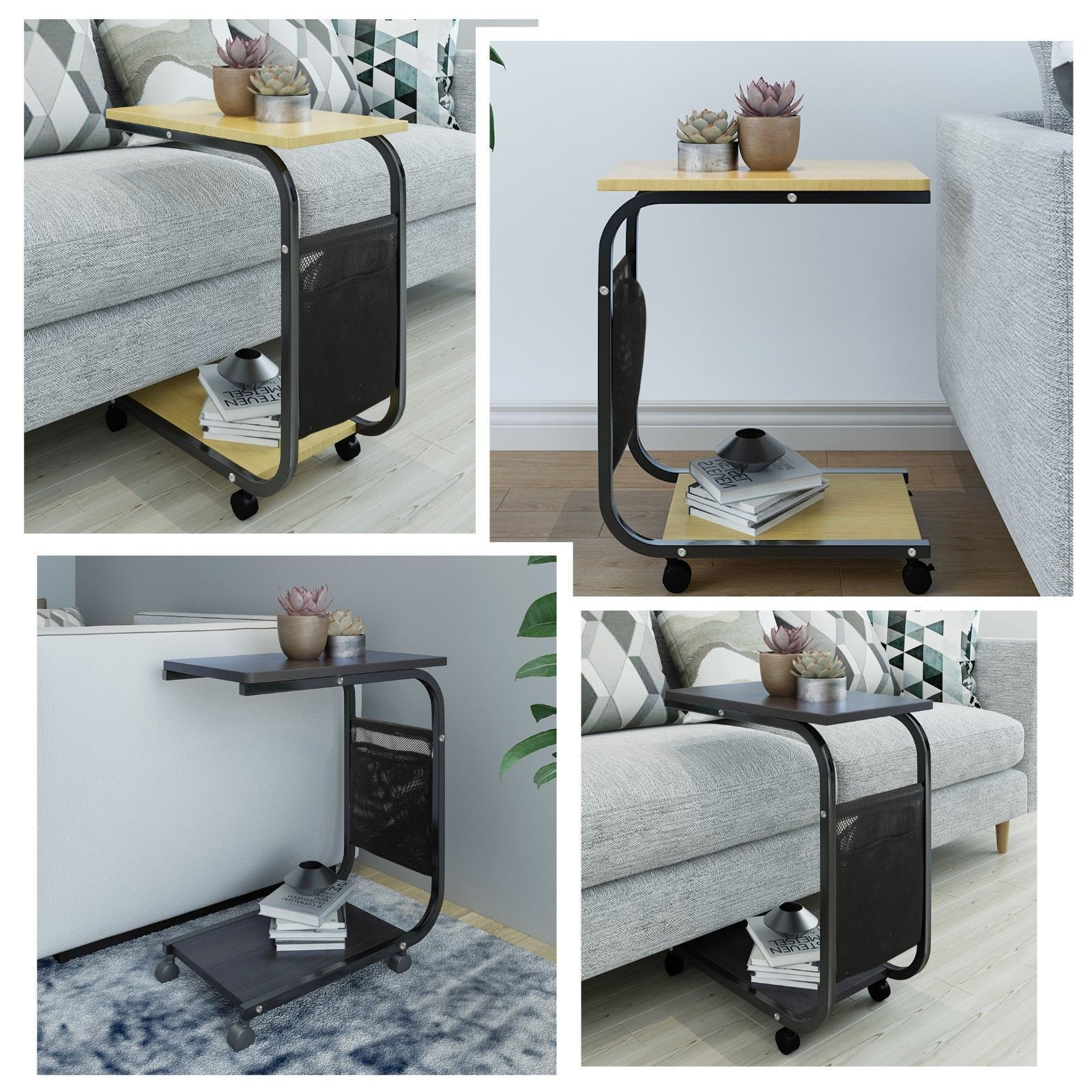 Mobile Sofa Side End Tables with Pocket Coffee Tray Bed Couch Console Stand Desk