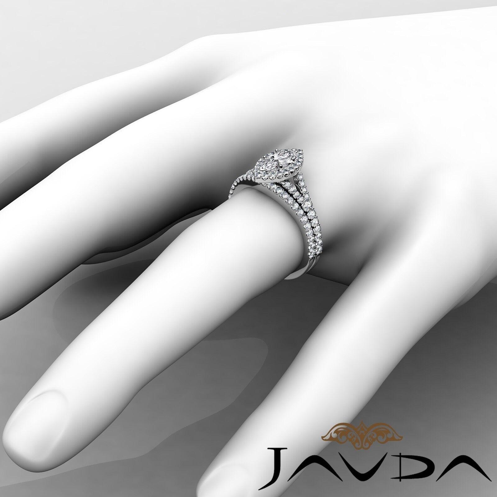 2.02ctw Halo Bridal Set Split Shank Marquise Diamond Engagement Ring GIA F-SI1 4