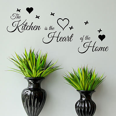 Home Decoration - Kitchen Quote Wall Art Sticker Heart of The Home Vinyl Decal Transfer Graphic UK