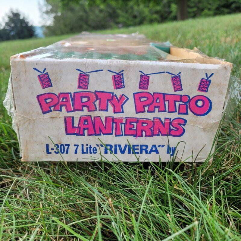 Vintage Lidco Riviera Party Patio Lantern Blow Mold String Lights Orange Red NOS