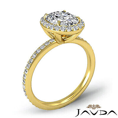 2 ct Oval Diamond Vintage Engagement Halo Classic Ring H VS2 14k White Gold GIA 7