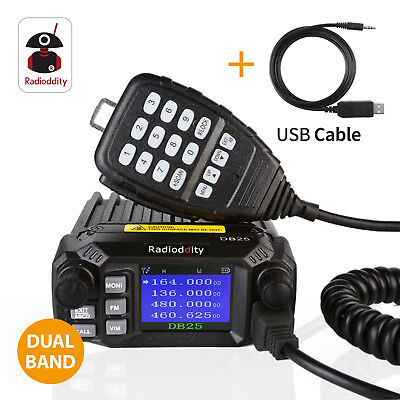 Radioddity DB25 Dual Band Quad-standby Mini Mobile Car Radio VHF UHF 25W 4 (Mini Quad Band)