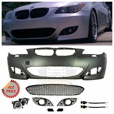 Used, 2004-09 BMW E60 M5 STYLE FRONT BUMPER W/ FOG LIGHTS & CONNECTORS 5 SERIES NO PDC for sale  Pomona