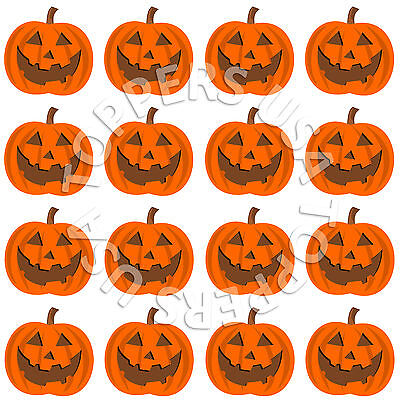 16x EDIBLE Halloween Pumpkin Face Cupcake Toppers Wafer Paper 4cm (uncut) - Halloween Cupcake Faces