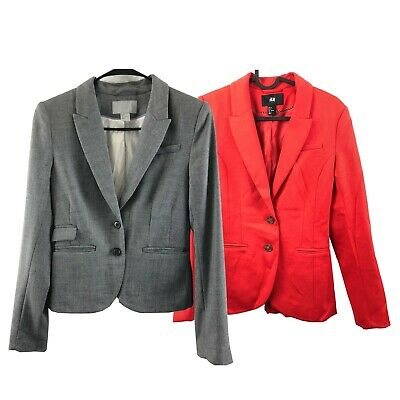 Mint! H&M Women's Suit Jacket Coat Blazer Size 4 Gray and Red Button Lot of 2