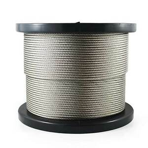 Marine Stainless Steel (316) 7x7 3.2mm Balustrade Wire Rope Cable x 50m roll
