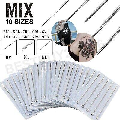 100pcs Mixed Assorted Tattoo Needles 10 Sizes-3 5 7 9RL 5 7 9RS 5 7 9M1