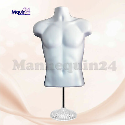 White Mannequin - Male Torso Dress Body Form With 1 Stand 1 Hook Hanger
