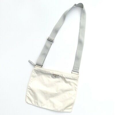 Prada Vintage Crossbody Messenger Bag White Ivory Nylon Tessuto Authentic