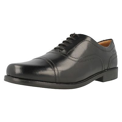 Clarks Mens Beeston Cap Smart Black Leather H Fitting   Extra Wide