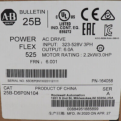 Allen-bradley Powerflex 525 2.2kw 3hp Ac Drive 25b-d6p0n104 New Factory Sealed