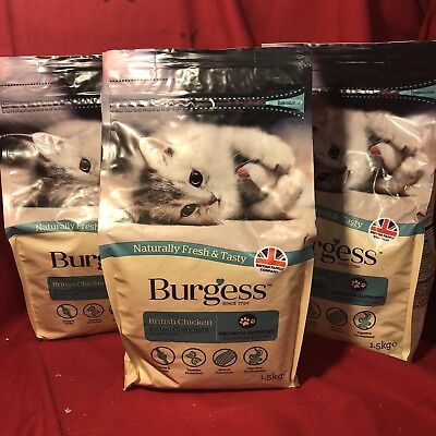3 x Burgess Dry Mother Kitten Cat Food Chicken GROWTH SUPPORT Bone Teeth Immune