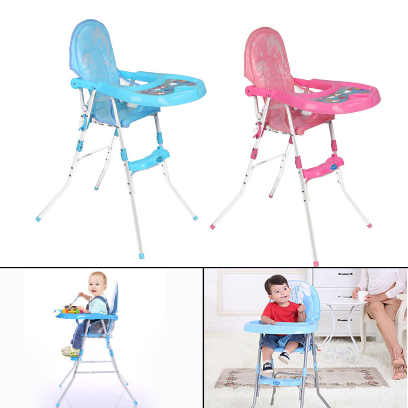 Details about Non Slip Baby Feeding High Chair Seat Foldable Children Infant Boy Blue Pink