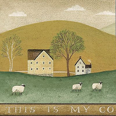 American Colonial Farm - Sheep Rolling Hills - ONLY $9 - Wallpaper Borders A373