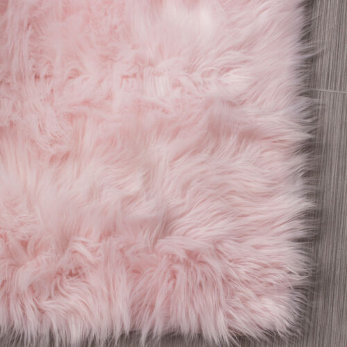 SOFT Shag Area Rug Faux Sheepskin Shag Rug Light Pink Silky