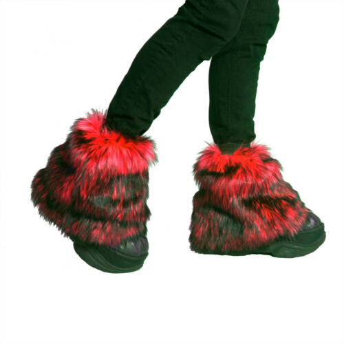PAWSTAR Ankle Furry  Leg Warmers - Fluffies Fur Red Black Boot Cover [WFRD]2594