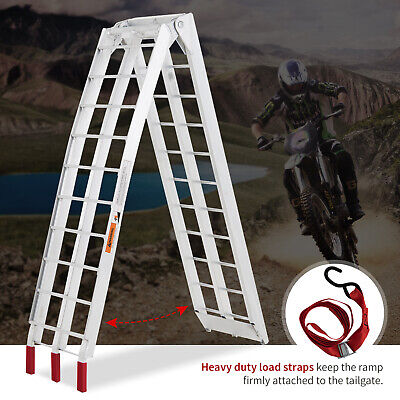 750lbs Rated Single 7.5ft Motorcycle Loading Ramp Aluminum Folding Truck Trailer