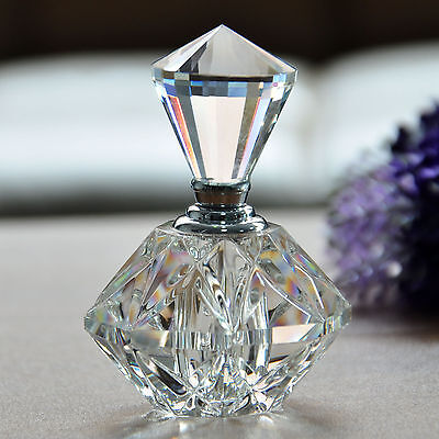 Vintage Cut Crystal Carved Perfume Bottle Glass Art Clear Bottle Gift Refillable