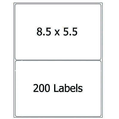200 Shipping Labels Half Sheet 8.5x5.5 Self Adhesive Round Corner Mailing Labels